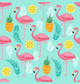 pink flamingo pineapples and exotic leaves vector image