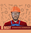 1 may card labor day poster with worker man vector image