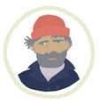 a bearded sailor wearing navy pea coat and red hat vector image
