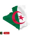 algeria map with waving flag country