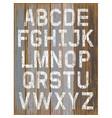 alphabet white color paint on wood retro color vector image vector image