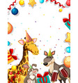 animal on party frame vector image vector image