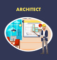 architect flat banner template vector image vector image