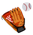 baseball glove and ball flat vector image vector image