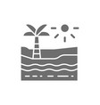 beach with palm tree sea and desert grey icon vector image