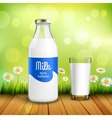 Bottle And Glass Of Milk vector image vector image