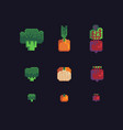 broccoli onions and beets pixel art icons set vector image vector image