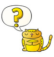 cartoon cat and question mark and speech bubble vector image vector image