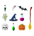 cartoon halloween icon set pumpkin deadmans hand vector image vector image