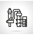 Chemical plant black line icon vector image vector image