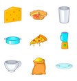 cooking pie icons set cartoon style vector image
