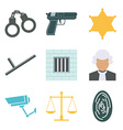 crime and police icons set flat design vector image