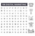 digital marketing editable line icons 100 vector image vector image