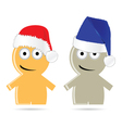 Funny people icon with christmas hat vector image