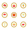 gift icons set cartoon style vector image vector image