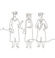 graduating students - one line design style vector image