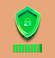 green shield with lock and loading strip vector image vector image