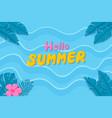 hand drawn hello summer background on beach vector image