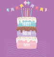 happy birthday sweet cake with candles pennants vector image