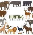 hunting season poster of wild animal and bird vector image vector image