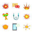 incendiary icons set cartoon style vector image vector image