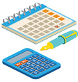 Isometric fountain pen calendar and calculator on vector image vector image