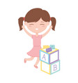 kids zone cute little girl with alphabet blocks vector image vector image