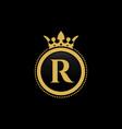 letter r royal crown luxury logo design vector image vector image