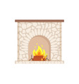 luxury bonfire flame and logs home interior vector image vector image