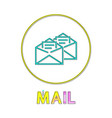 mail app round linear icon with open envelopes vector image
