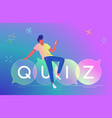 man playing quiz with smartphone mobile app vector image