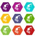 market code scanner icons set 9 vector image