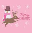 merry christmas celebration snowman reindeer vector image vector image