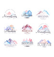 mountain original logo design watercolor vector image vector image