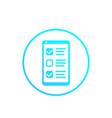 online survey form in phone feedback icon vector image vector image