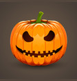 pumpkin for halloween on dark background vector image vector image