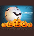 pumpkins halloween card full moon on vector image