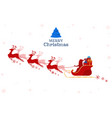 red silhouette santa claus flying with reindeer vector image vector image