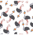 Seamless Funny Cartoon Ostrich vector image vector image