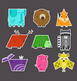 set of cute flat kids geometrical animals stickers vector image vector image