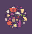 set tea theme line art draw icons in circle vector image vector image
