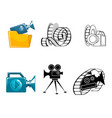 six icons for video clips vector image vector image