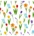 spring and summer garden and wild flowers seamless vector image vector image