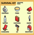survival kit color outline isometric icons vector image vector image