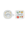 takeaway coffee hand drawn labels set tea bar vector image vector image