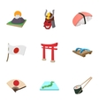 Tourism in Japan icons set cartoon style vector image vector image