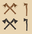 two crossed felling axes vector image vector image