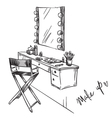Vanity table and folding chair vector image vector image