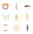 Watch icons set cartoon style vector image