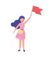 woman holding red flag success vector image